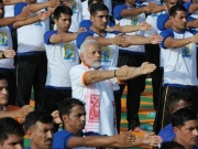 Indian Prime Minister Narendra Modi performs yoga on International Yoga Day in Dehradun