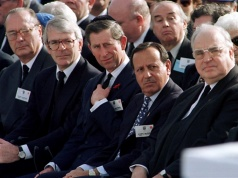 French President Jacques Chirac, British Prime Minister John Major, Prince Charles, Jordanian Prime Minister Sherif Zaid Bin Shaker and German Chancellor Helmut Kohl look toward the coffin of assassinated Israeli Prime Minister Ytizhak Rabin