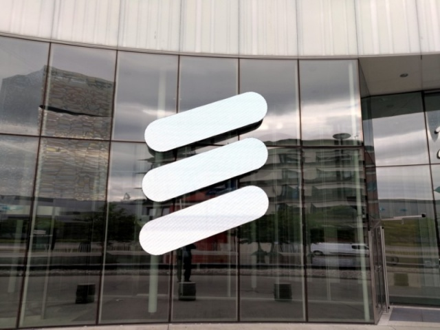 The Ericsson logo is seen at the Ericsson's headquarters in Stockholm