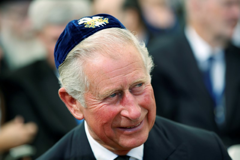 Britain's Prince Charles wearing 'Yarmulke,' or Jewish skull cap, during funeral of former Israeli President Shimon Peres on Mt. Herzl Military Cemetery in Jerusalem