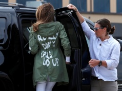"U.S. first lady Melania Trump arrives back in Washington from Texas wearing ""I Really Don't Care. Do U?"" jacket at Joint Base Andrews, Maryland"