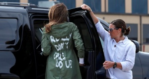 """U.S. first lady Melania Trump arrives back in Washington from Texas wearing """"I Really Don't Care. Do U?"""" jacket at Joint Base Andrews, Maryland"""