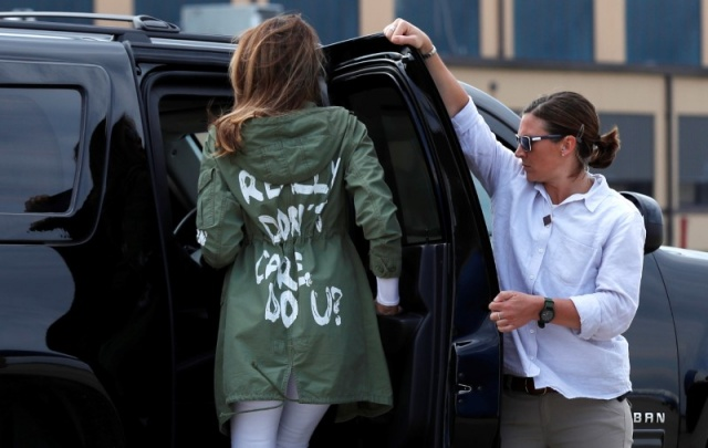 U.S. first lady Melania Trump arrives back in Washington from Texas wearing