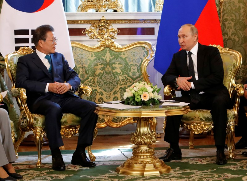 Russian President Putin meets with South Korean President Moon in Moscow