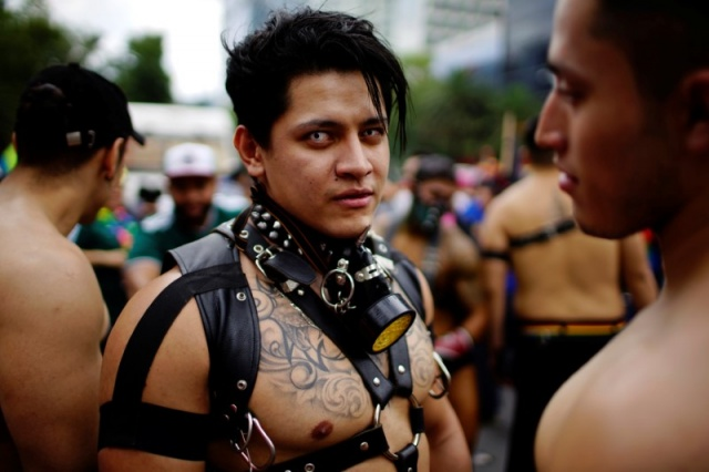 A participant looks at the camera during a a Gay Pride Parade in Mexico City