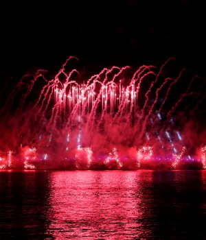Fireworks explode along the Neva River, the during the Scarlet Sails festivities marking school graduation, in St. Petersburg
