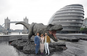 Cast members Pratt, Dallas Howard, and Goldblum attend photocall to promote the forthcoming film 'Jurassic World: Fallen Kingdom' in London, Britain