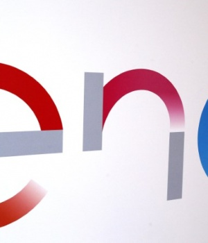 The new logo of Italy's biggest utility Enel is seen inside its flagship store in downtown Milan