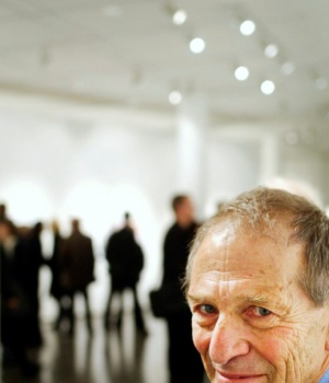 South African photographer David Goldblatt poses for a photo during an exhibition in Gothenburg