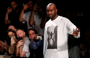 Designer Virgil Abloh appears at the end of his Spring/Summer 2019 collection for Off-white fashion label during Mens' Fashion Week in Paris