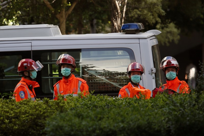 Rescuers on standby after open fire in Hong Kong
