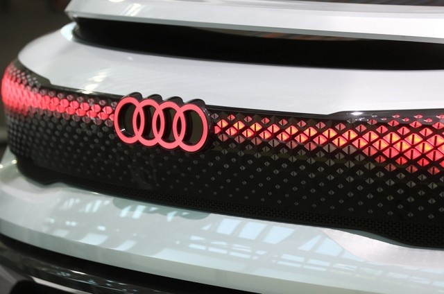 Audi sign is seen on the show car at the Audi Forum before the company's annual shareholders meeting in Ingolstadt