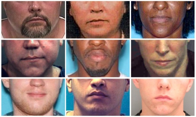 Portraits of suspects, distributed by central Florida area police, are seen in a combination of file photos