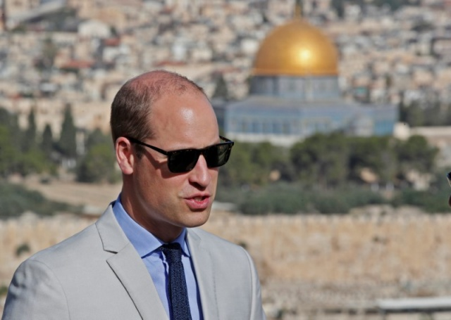 Britain's Prince William visits an observation point on Mount of Olives, overlooking Jerusalem's Old City