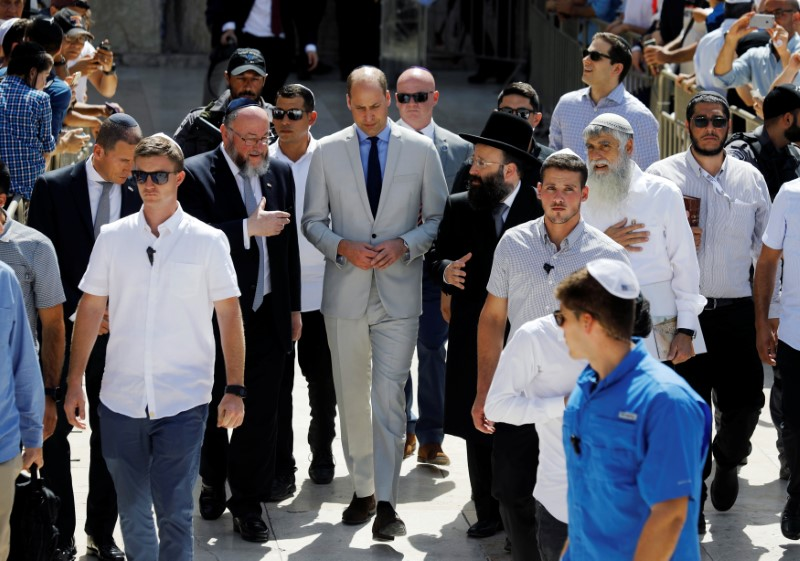 Britain's Prince William visits the Western Wall, Judaism's holiest prayer site, in Jerusalem's Old City