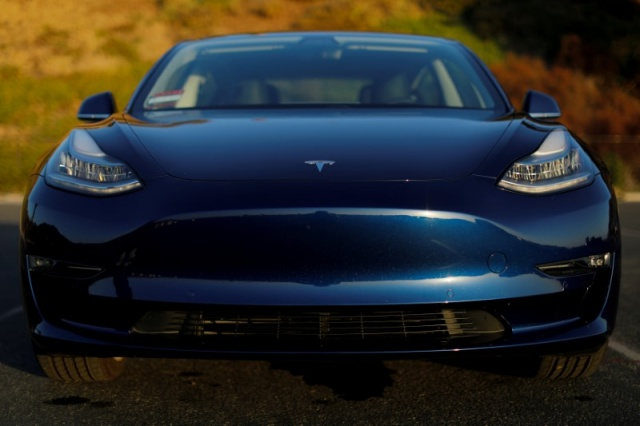 A 2018 Tesla Model 3 electric vehicle in Cardiff California,