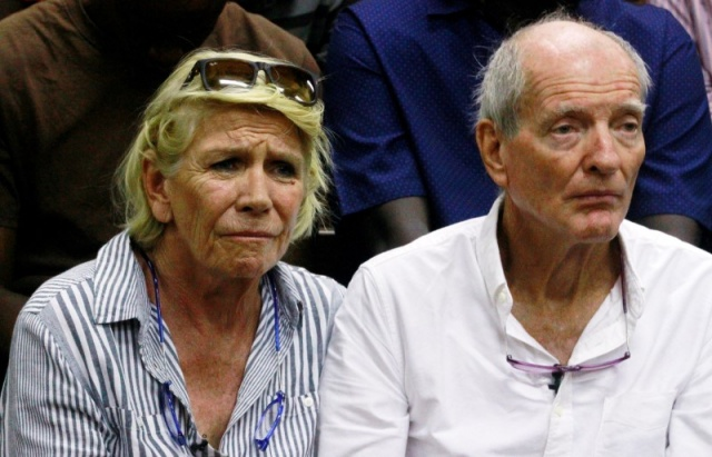Hilary Manson and her husband John Lockhart sit inside the high court in Mombasa during the ruling on their son Alexander Monson, 28, who was found dead in his prison cell in 2012, in Mombasa