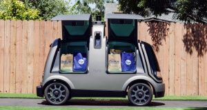 Kroger Co. and Nuro's unmanned delivery vehicle is seen in this photo provided by Kroger in California