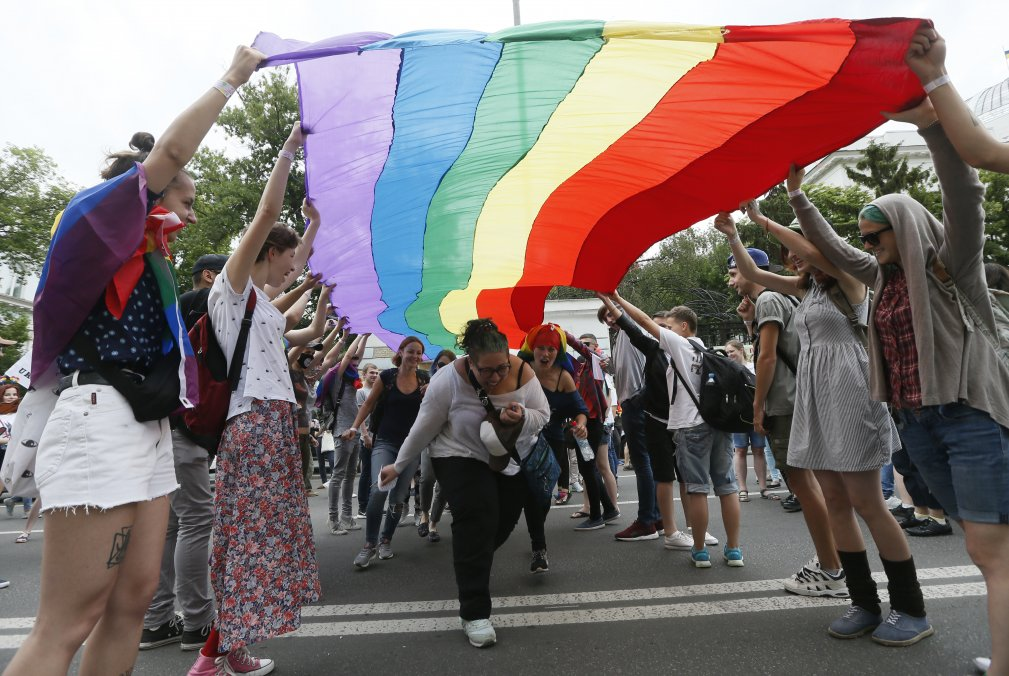 Participants attend the Equality March, organized by the LGBT community