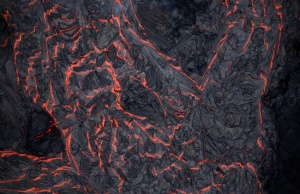 Lava flows on the outskirts of Pahoa during ongoing eruptions of the Kilauea Volcano in Hawaii