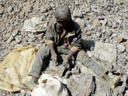 An artisanal miner works at Tilwizembe, a former industrial copper-cobalt mine
