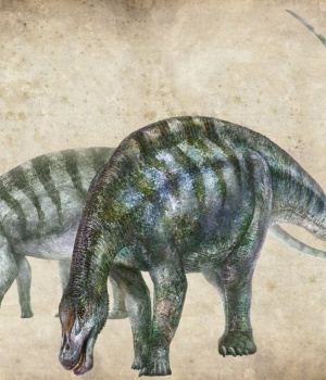 An artist's rendering of Lingwulong shenqi, a newly discovered dinosaur unearthed in northwestern China