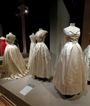 "Vintage dresses by designers Christian Dior are presented in the exhibition ""Les Annees 50, La mode en France"" at the Palais Galliera fashion museum in Paris"