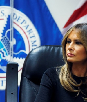 Melania Trump listens to federal immigration and law enforcement officials during a roundtable discussion as she visits a U.S. Customs and Border Patrol facility in Tucson