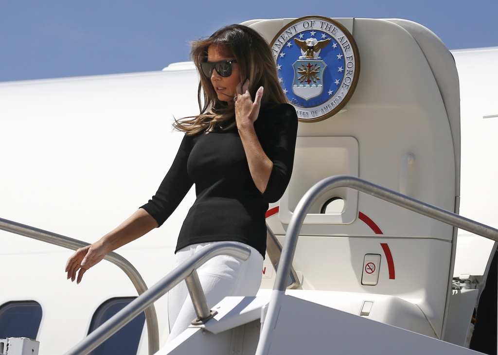 U.S. first lady Melania Trump arrives from Washington to tour immigration detention facilities in Tucson, Arizona