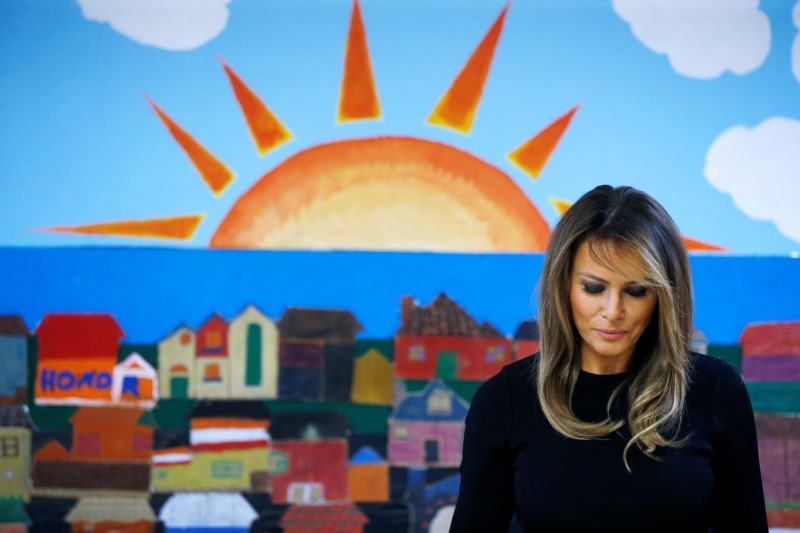U.S. first lady Melania Trump arrives for roundtable discussion at immigration detention facility for children in Phoenix, Arizona