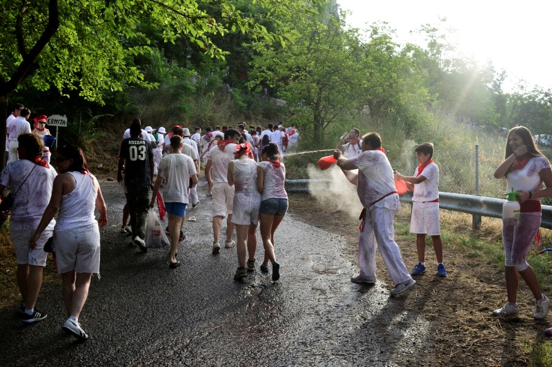 Revellers have wine sprayed at them during the Batalla de Vino (Wine Battle) in Haro
