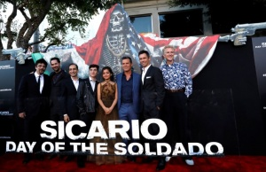 """Cast members pose at the premiere for the movie """"Sicario: Day of the Soldado"""" in Los Angeles"""
