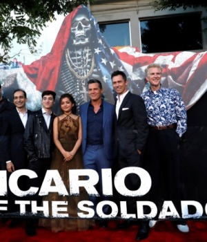"Cast members pose at the premiere for the movie ""Sicario: Day of the Soldado"" in Los Angeles"