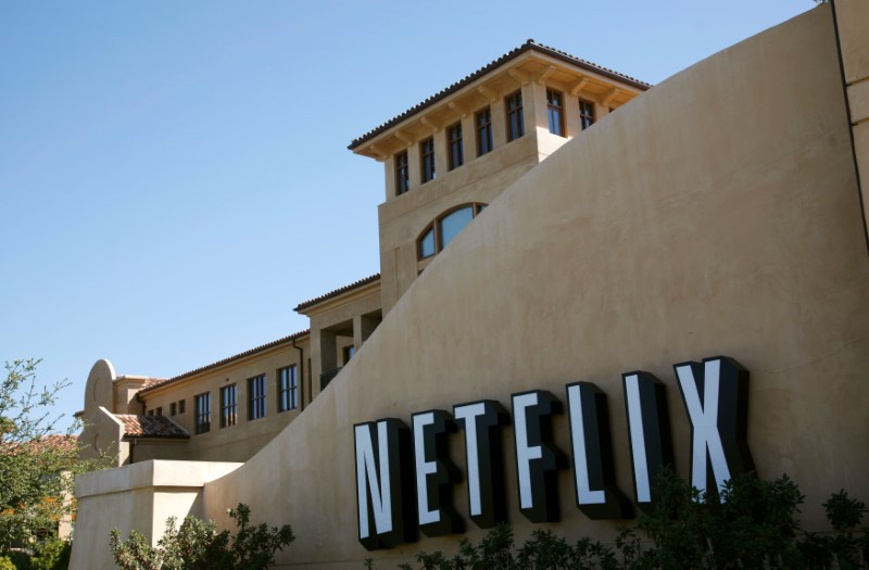 Netflix sign at the headquarters of Netflix in Los Gatos