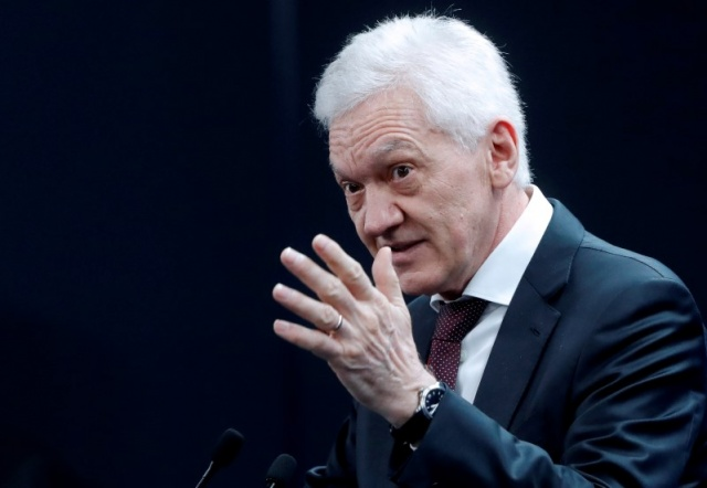 Russian tycoon Timchenko attends a session of the St. Petersburg International Economic Forum