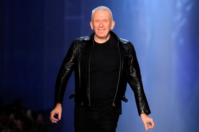 French designer Jean Paul Gaultier appears at the end of his Haute Couture Fall/Winter 2018/2019 collection show in Paris