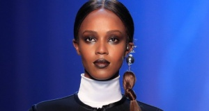 model presents a creation by French designer Jean Paul Gaultier as part of his Haute Couture Fall/Winter 2018/2019 collection show in Paris