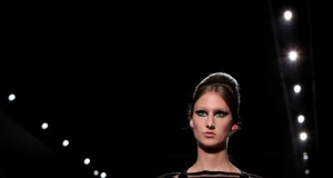 A model presents a creation by designers Karl Lagerfeld and Silvia Venturini as part of their Haute Couture Fall/Winter 2018/2019 collection show for fashion house Fendi in Paris