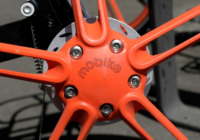 A Mobike is pictured after Chinese bike sharing company MOBIKE launched its service in Mexico City