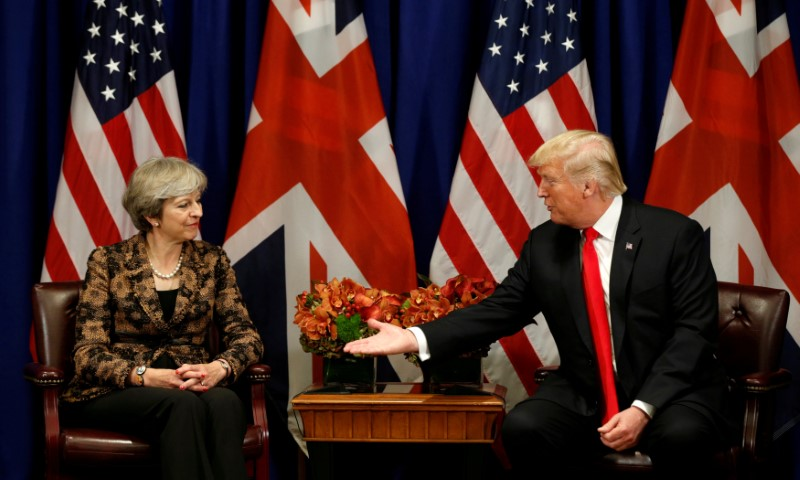 U.S. President Donald Trump meets with Britain's Prime Minister Theresa May during the U.N. General Assembly in New York