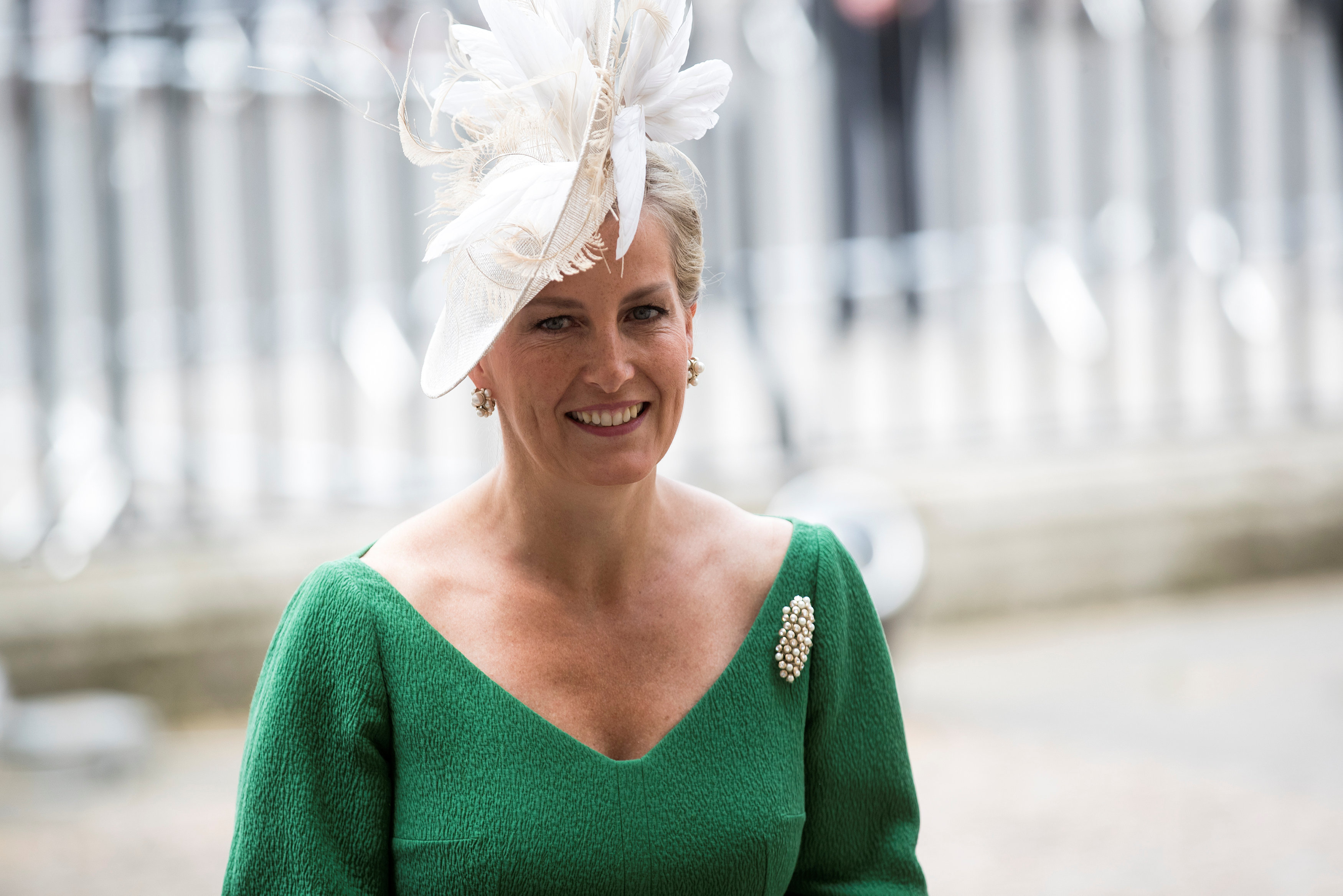 Britain's Sophie, Countess of Wessex, arrives for a service to commemorate the 70th anniversary of the National Health Service (NHS) at Westminster Abbey in London