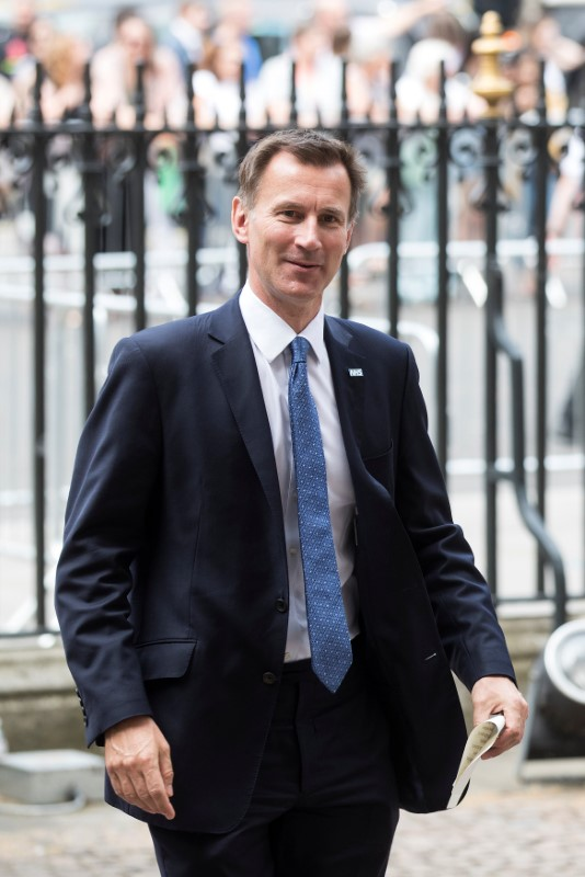 Britain's Secretary of State for Health and Social Care Jeremy Hunt arrives for a service to commemorate the 70th anniversary of the National Health Service (NHS) at Westminster Abbey in London