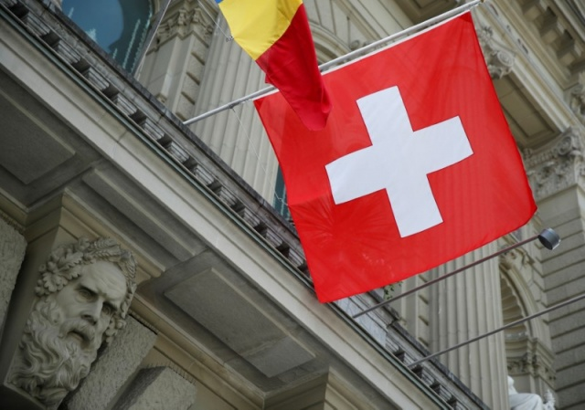 A Swiss flag is pictured on the Swiss Federal Palace (Bundeshaus) in Bern