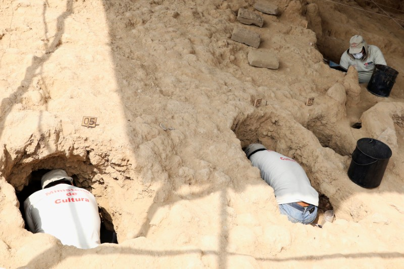 Archaeologists unearth tombs and human remains from the Inca culture at Huaca de las Abejas, in Tucume Archaeological Complex in Lambayeque