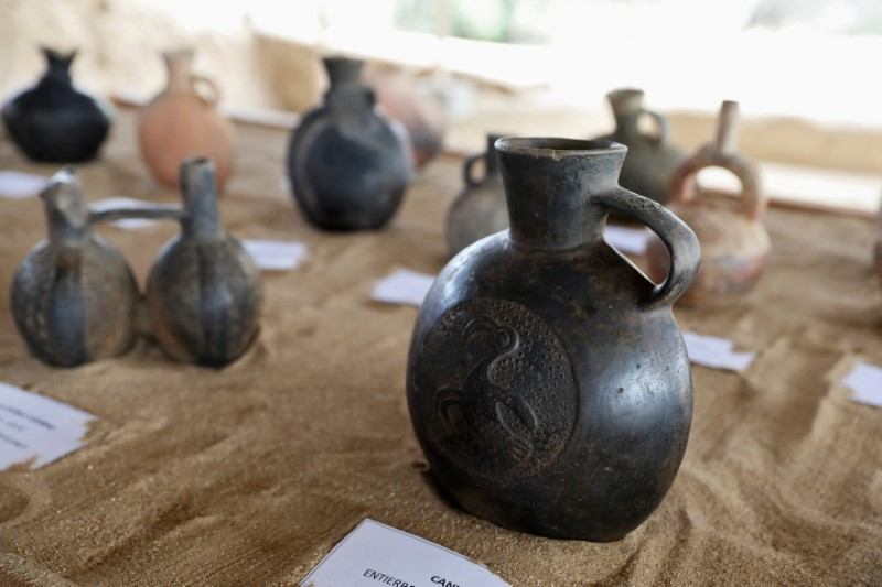 Pottery found from the Inca culture are seen at Huaca de las Abejas in Tucume Archaeological Complex in Lambayeque