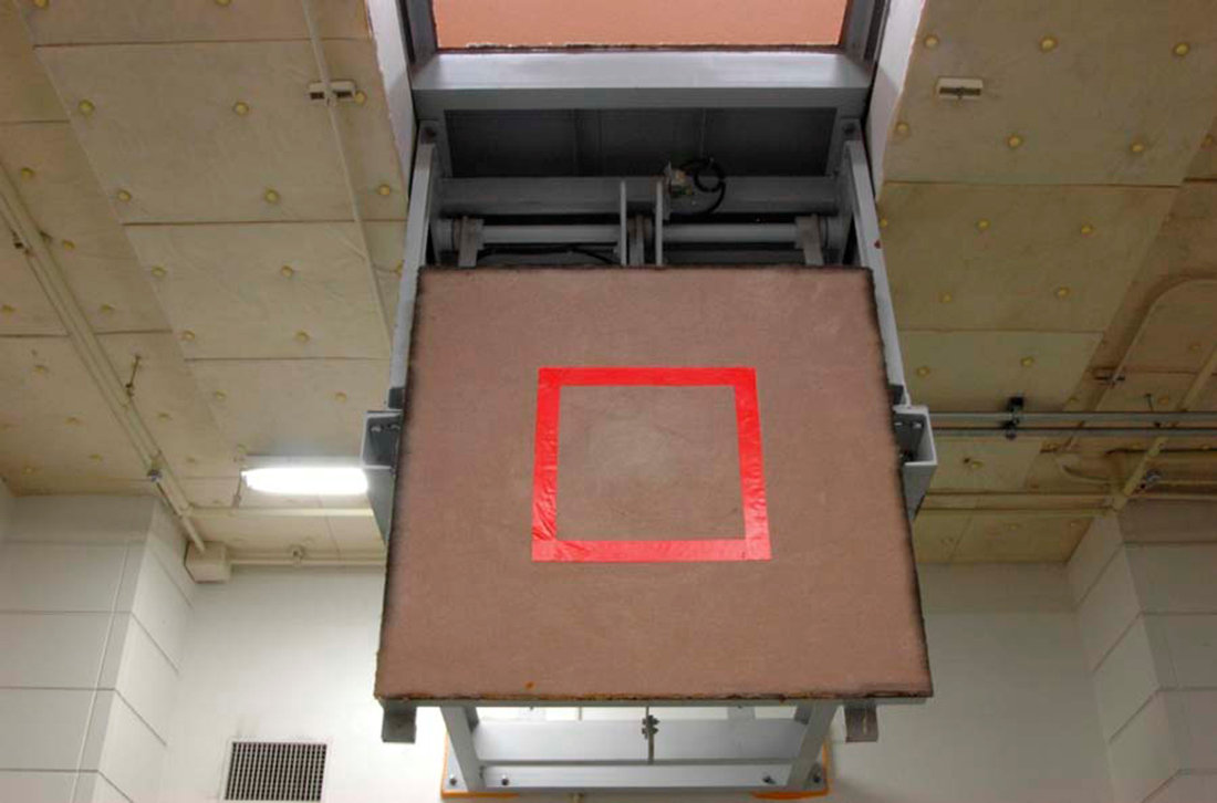 An execution chamber where a trap door is marked with a red square, is seen at the Tokyo Detention Center in Tokyo