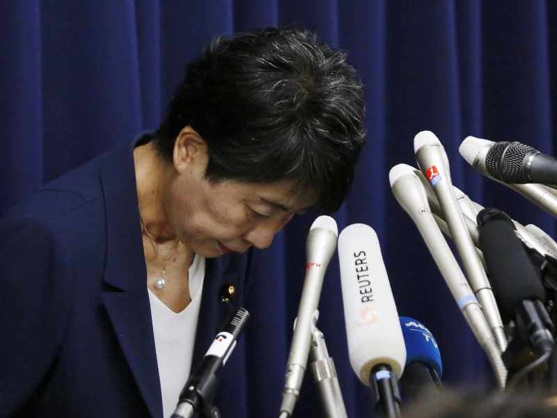 Japan's Justice Minister Yoko Kamikawa attends a news conference in Tokyo