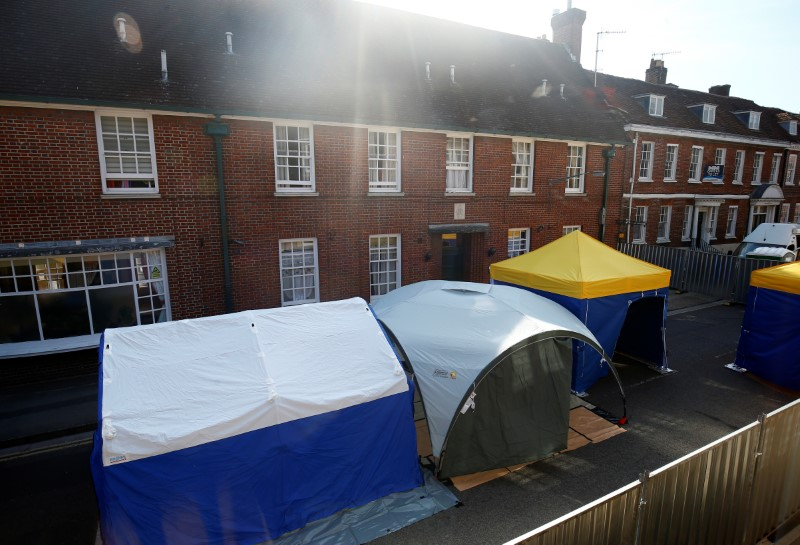 Police forensic tents can be seen to the rear of John Baker House, after it was confirmed that two people had been poisoned with the nerve-agent Novichok, in Amesbury