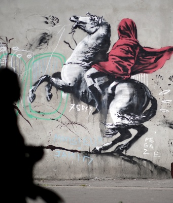 A recent artwork believed to be attributed to British activist-artist Banksy is pictured in Paris
