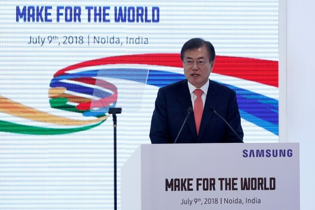 South Korean President Moon Jae-in speaks during the inauguration of the Samsung Electronics smartphone manufacturing facility in Noida